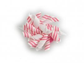 Gekruld lint wit met roze streep