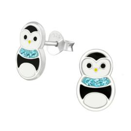 Kinderoorbellen Sterling zilver 925 Pinguïn met kristal