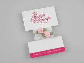 Haarelastiekjes badstof wit met roze roosje