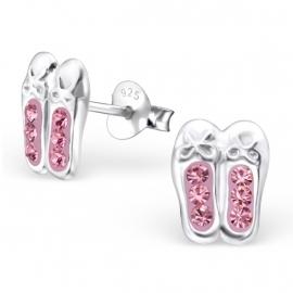 Kinderoorbellen Sterling zilver 925 Balletschoentjes met roze strass