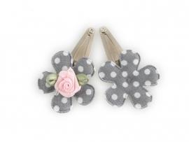 Babyhaarspeldjes grijze gestipte bloem