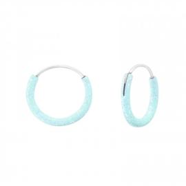 Creolen Sterling zilver 925 Lichtblauw glitter