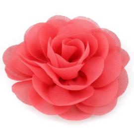 Haarbloem groot stof bloem coral