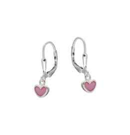 Kinderoorbellen Sterling zilver 925 Brisuresluiting Roze hartjes