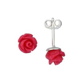 Kinderoorbellen Sterling zilver 925 Fuchsia roos