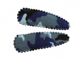 Haarspeldjes blauwe legerprint