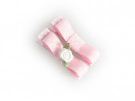 Lokknipje met lint roze gestipt met wit roosje