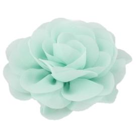 Haarbloem groot stof bloem mintgroen
