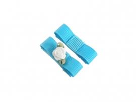 Babyhaarspeldje met lint blauw met wit roosje