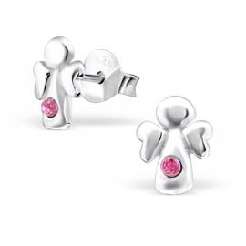 Kinderoorbellen Sterling zilver 925 Engeltjes met roze kristallen