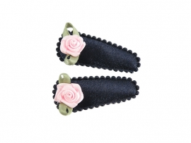 Babyhaarspeldjes blauw satijn met roze roosje