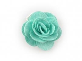 Haarbloem vilten roos mintgroen
