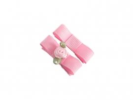 Babyhaarspeldje met lint roze met roze roosje