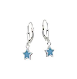 Kinderoorbellen Sterling zilver 925 Brisuresluiting Blauwe ster