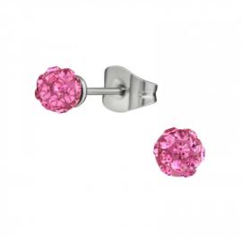 Oorbellen Chirurgisch staal Bol kristal roze