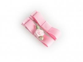 Lokknipje met lint roze met roze roosje