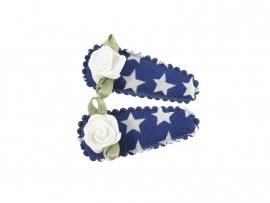 Babyhaarspeldjes kobaltblauw met ster en wit roosje