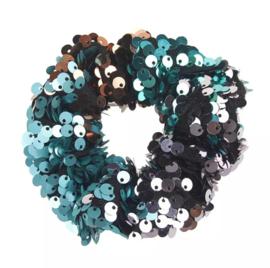 Haarelastiekjes pailletten scrunchie groen/rood/zwart