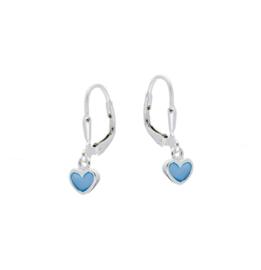 Kinderoorbellen Sterling zilver 925 Brisuresluiting Blauwe hartjes
