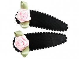 Haarspeldjes zwart satijn met roze roosje