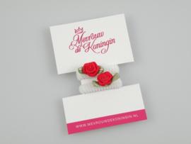 Haarelastiekjes badstof wit met rood roosje