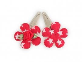 Babyhaarspeldjes rode bloem met ster