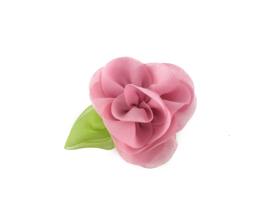 Haarbloem met blaadje oud roze