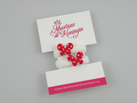 Haarelastiekjes badstof wit met rode vlinder