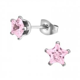 Oorbellen Chirurgisch staal Ster roze 6mm