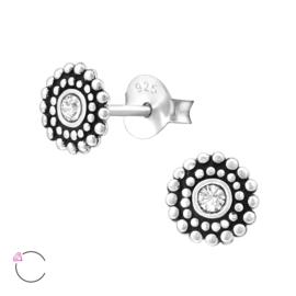 Oorbellen Sterling zilver 925 Bali rond met Swarovski kristal