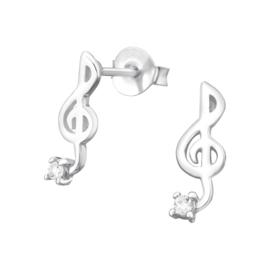 Kinderoorbellen Sterling zilver 925 Muzieksleutel met zirkonia