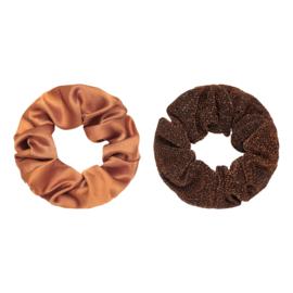 Haarelastiekjes scrunchie bruin