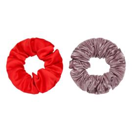 Haarelastiekjes satijnen scrunchie rood/paars