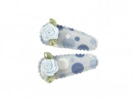 Babyhaarspeldjes blauw met ballen en blauw roosje