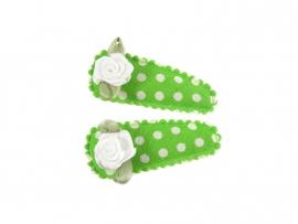 Babyhaarspeldjes groen gestipt met wit roosje
