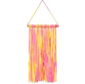 Haarspeldhouder roze/geel