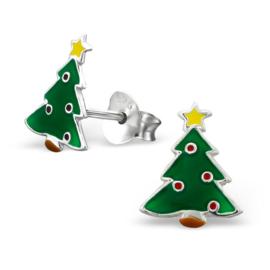 Kinderoorbellen Sterling zilver 925 Kerstboom met ballen