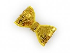 Lokknipje pailletten strik geel