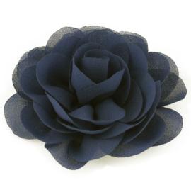 Haarbloem groot stof bloem donkerblauw