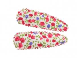 Haarspeldjes rood met paarse bloemen