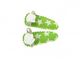 Babyhaarspeldjes groen met ster en wit roosje