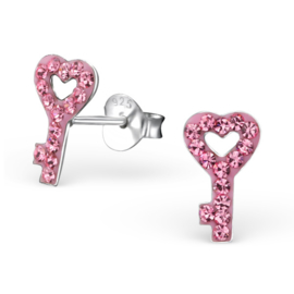 Kinderoorbellen Sterling zilver 925 Sleutel hart kristal roze