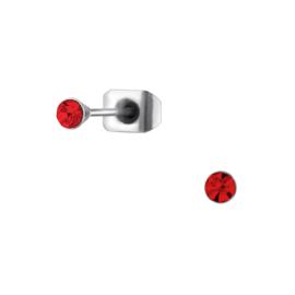 Oorbellen Chirurgisch staal Rond rood mini