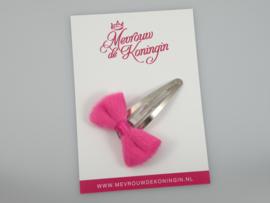 Haarspeldje pluche strik roze