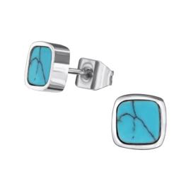 Oorbellen Chirurgisch staal Plein blauw