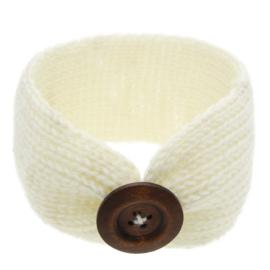 Haarbandjes gebreid knoop gebroken wit