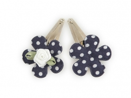 Babyhaarspeldjes donkerblauwe gestipte bloem