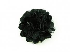 Haarbloem satijn/tule zwart