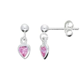 Kinderoorbellen Sterling zilver 925 Hart roze