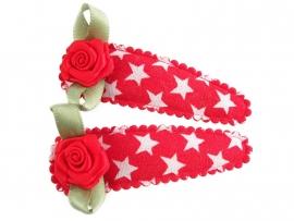 Haarspeldjes rood met ster en rood roosje